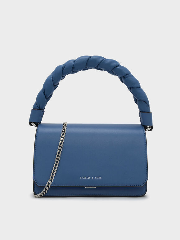 Scarf Wrapped Handle Chain Detail Bag, Blue, hi-res