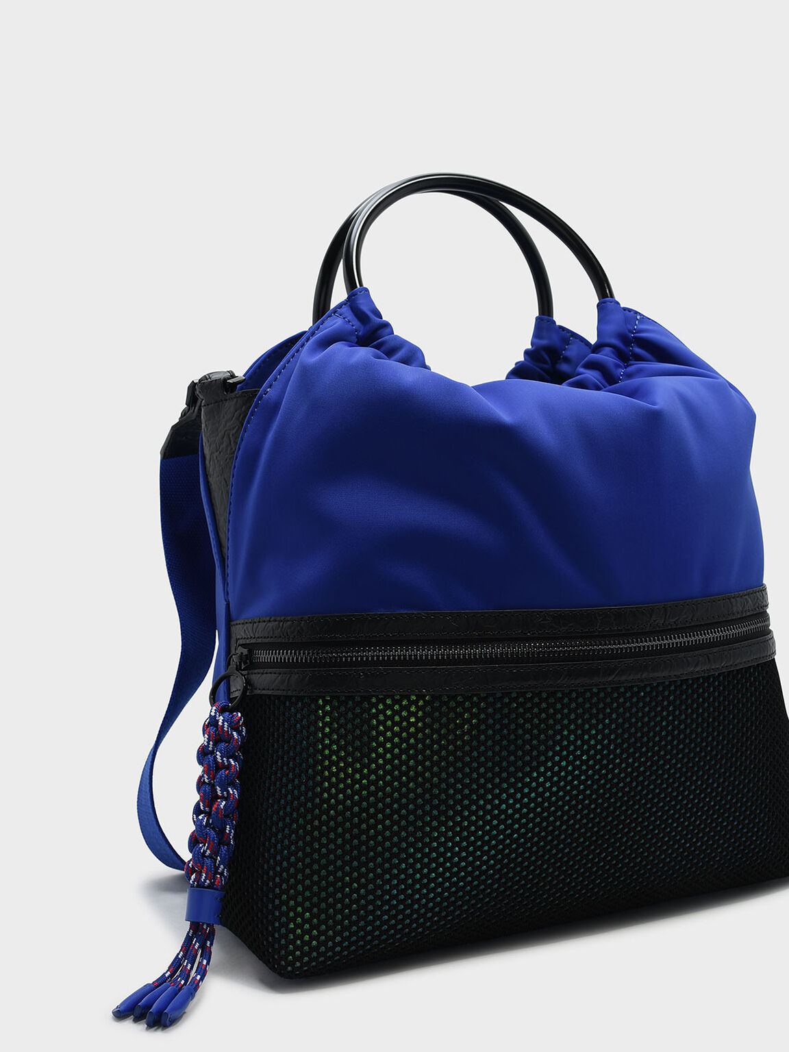 Mesh Detail Tote Bag, Blue, hi-res