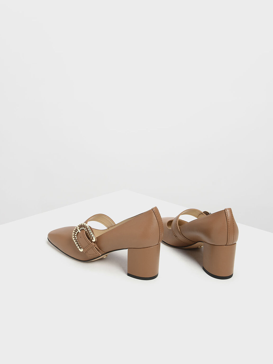 Leather Stitch Detail Buckle Mary Jane Heels, Brown, hi-res