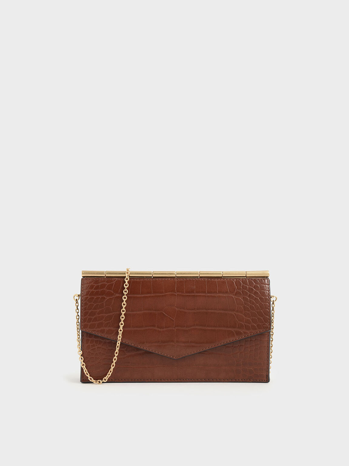 Mini Croc-Effect Long Envelope Wallet, Dark Brown, hi-res