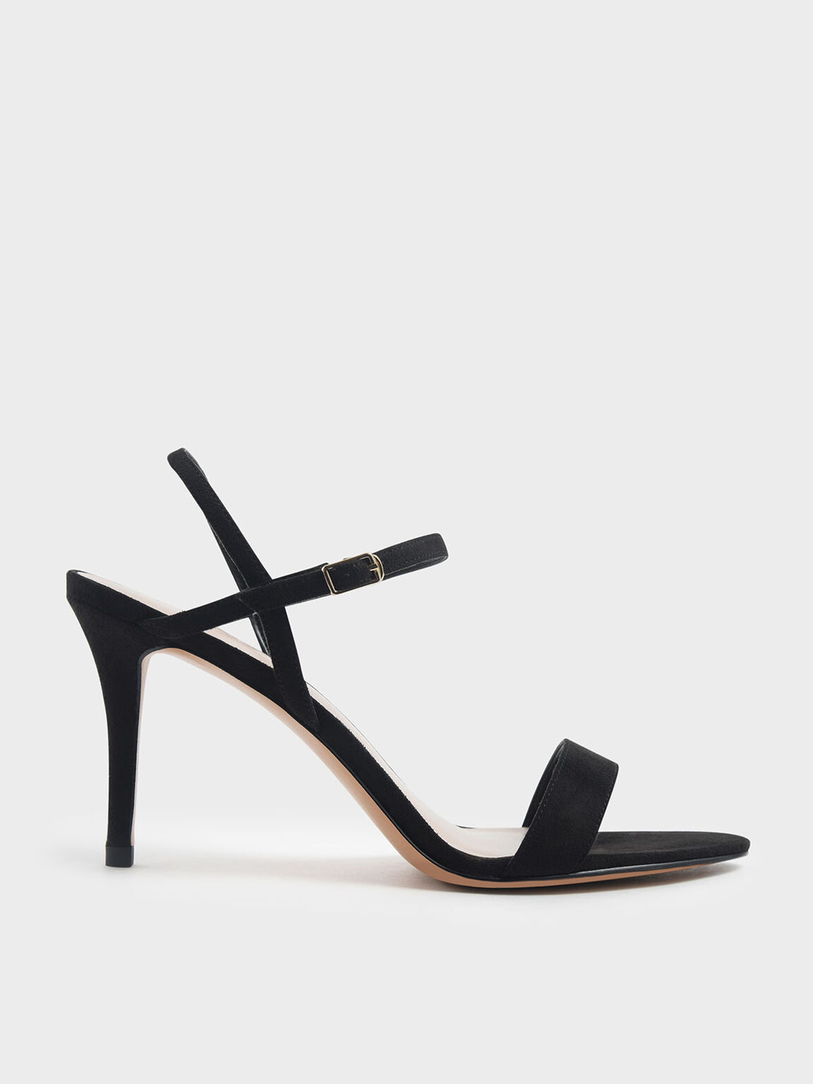 Textured Classic Stiletto Heel Sandals, Black, hi-res
