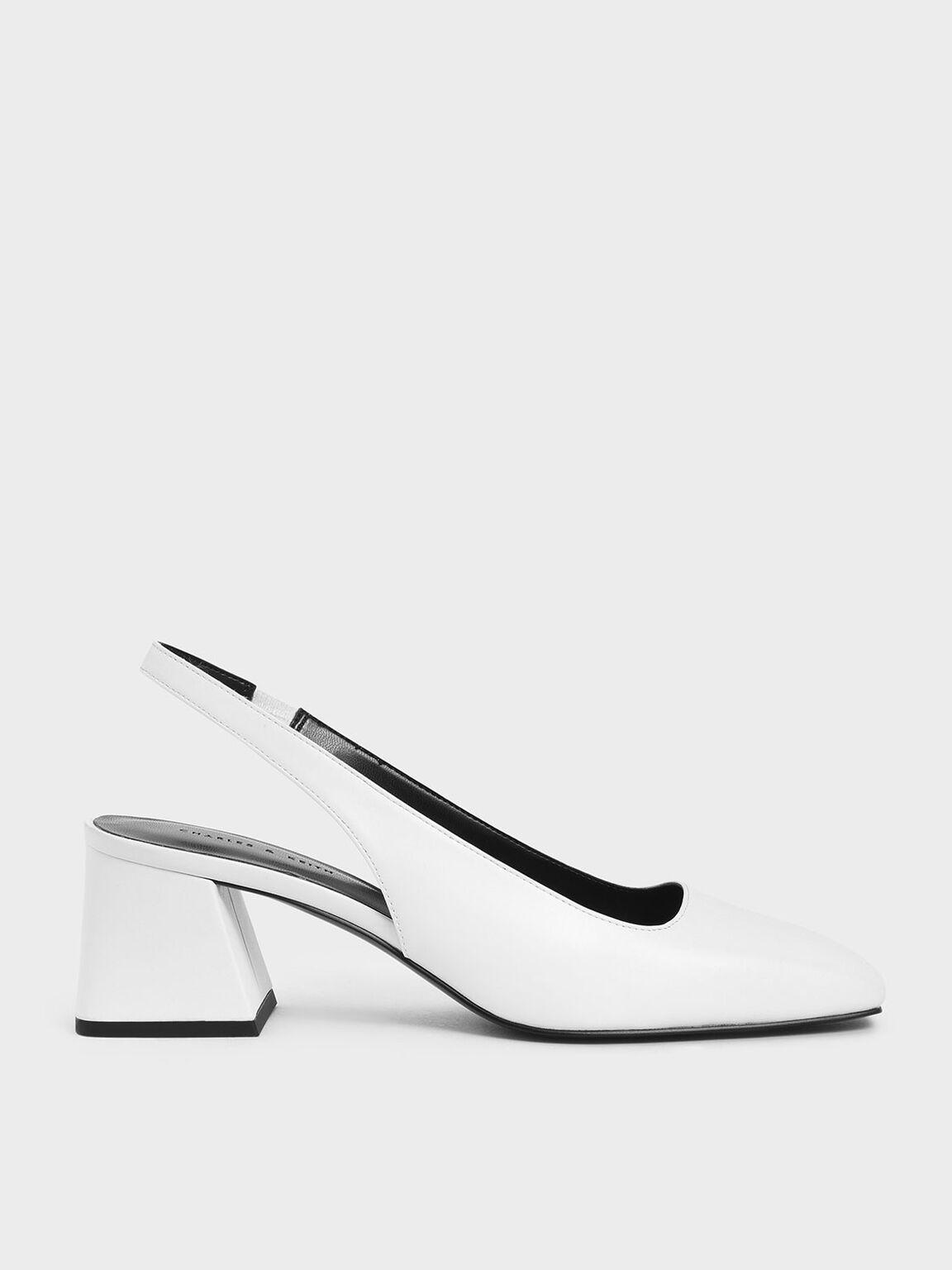 Square Toe Slingback Heels, White, hi-res