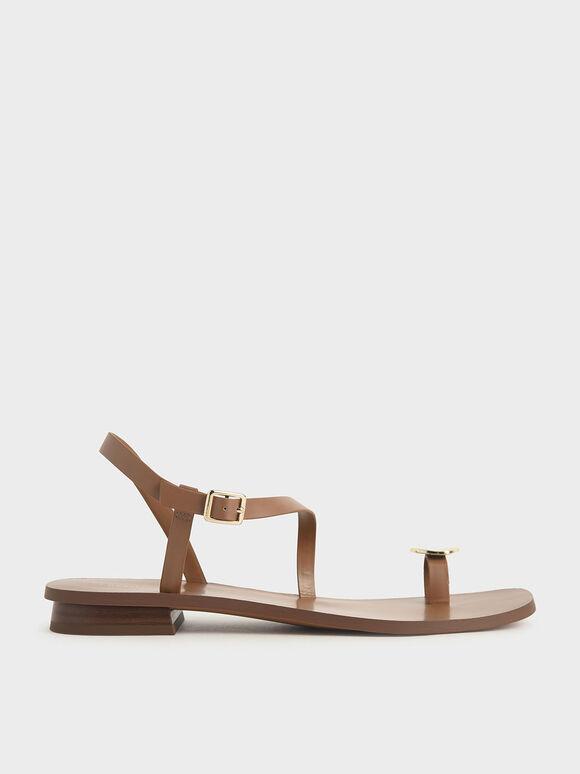 金屬片夾腳涼鞋, 咖啡色, hi-res