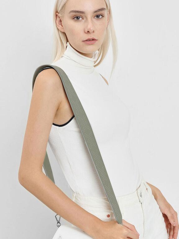 Double X Print Bag Strap, Sage Green