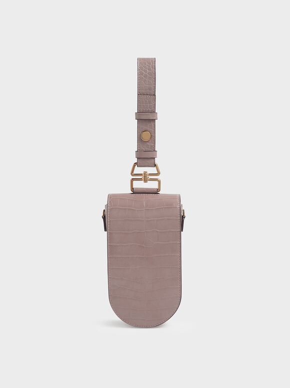Croc-Effect Long Pouch, Mauve, hi-res