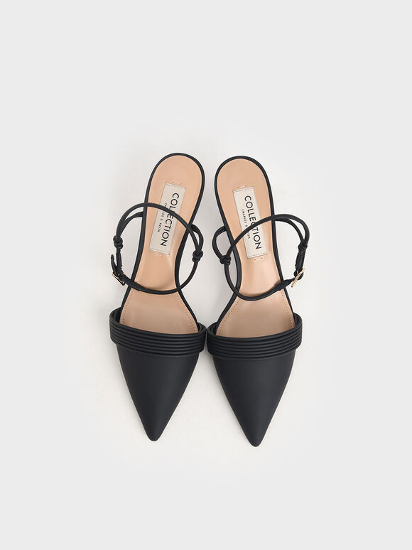 尖頭繞踝細跟鞋, 黑色, hi-res
