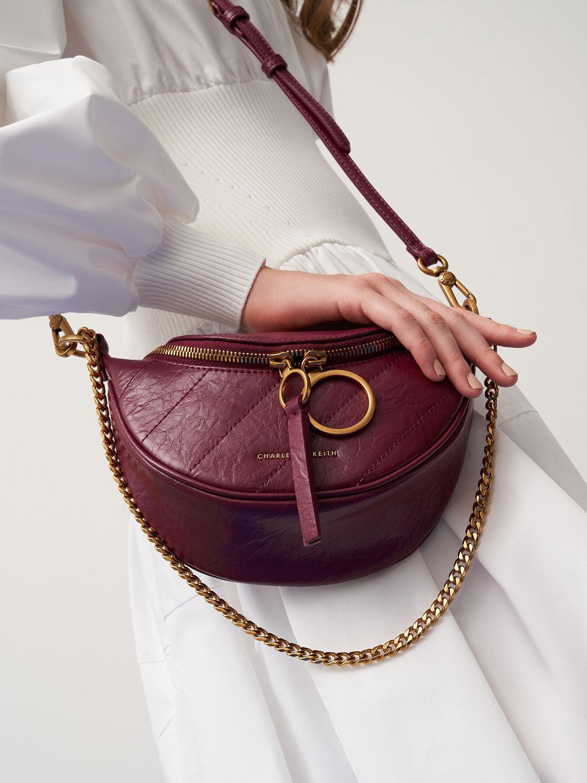 Wrinkled-Effect Half-Moon Crossbody Bag, Burgundy, hi-res