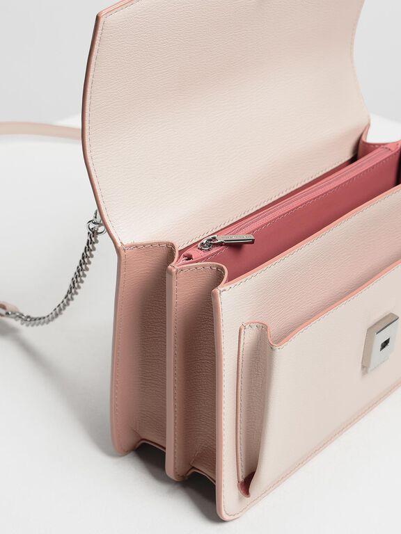 Single Flap Crossbody Bag, Light Pink