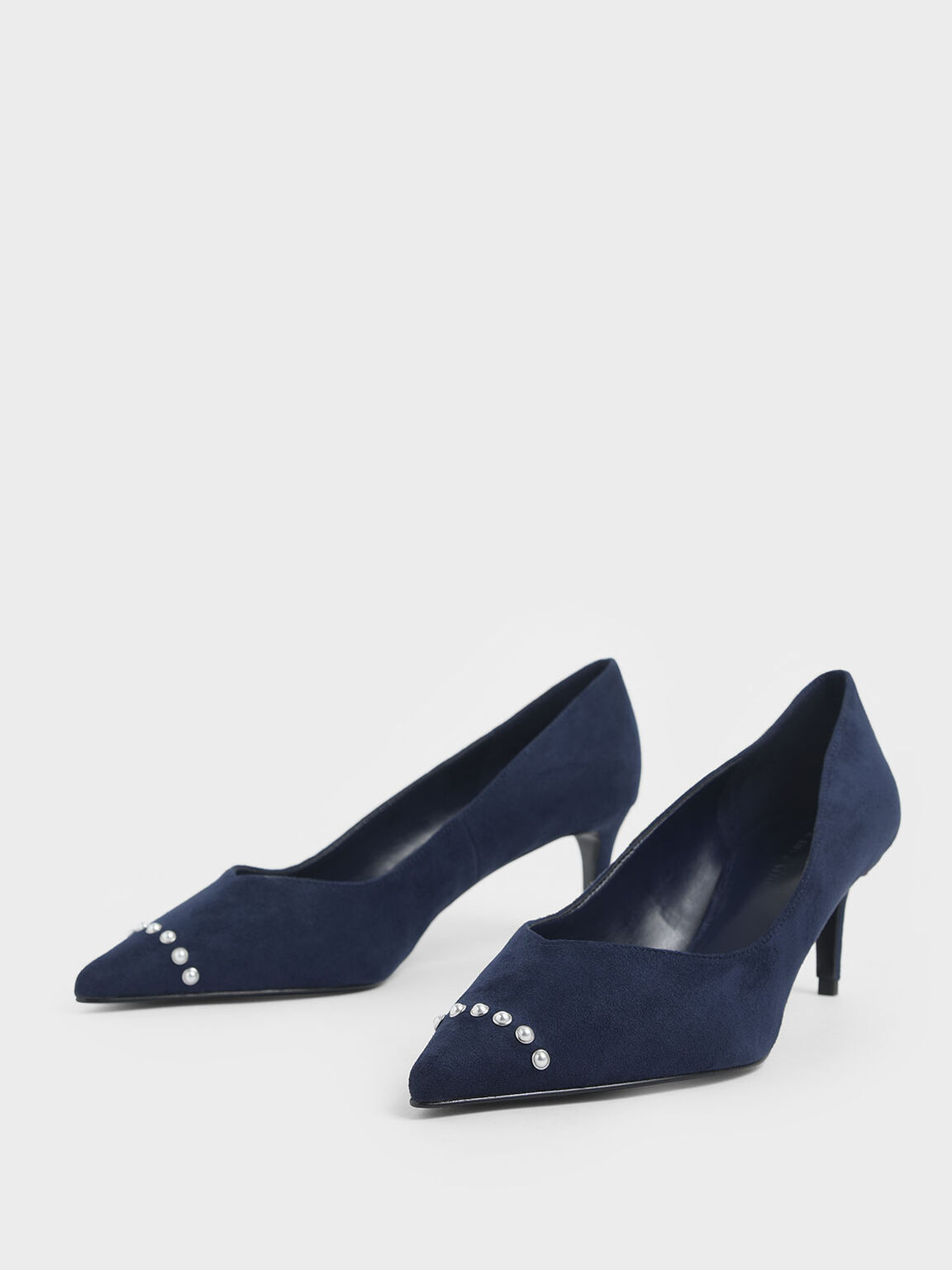 Embellished Trim Pointed Toe Textured Pumps, Dark Blue, hi-res
