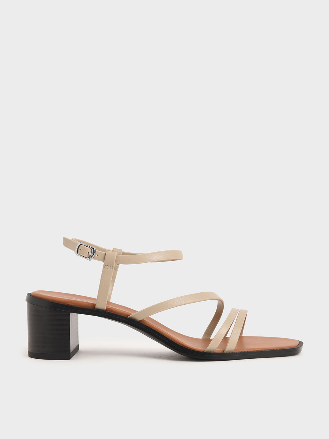 Strappy Open Toe Heeled Sandals, Beige, hi-res