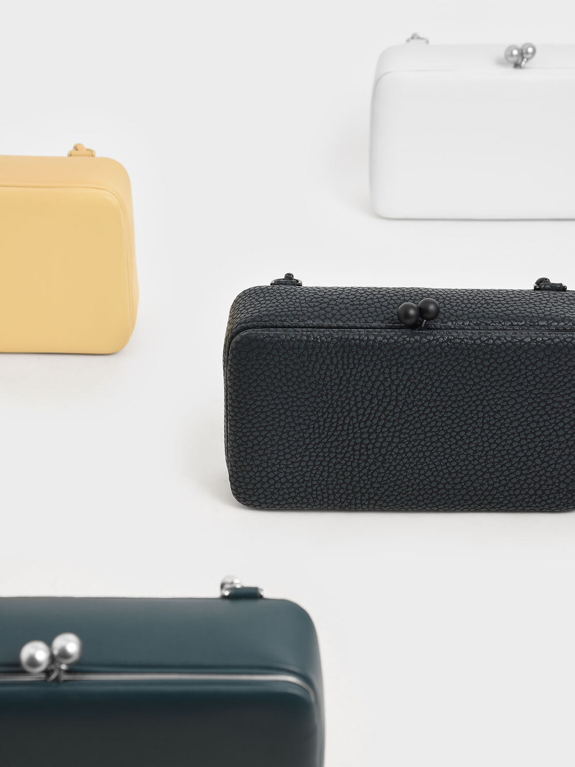Boxy Textured Twist Lock Crossbody Bag, Black, hi-res