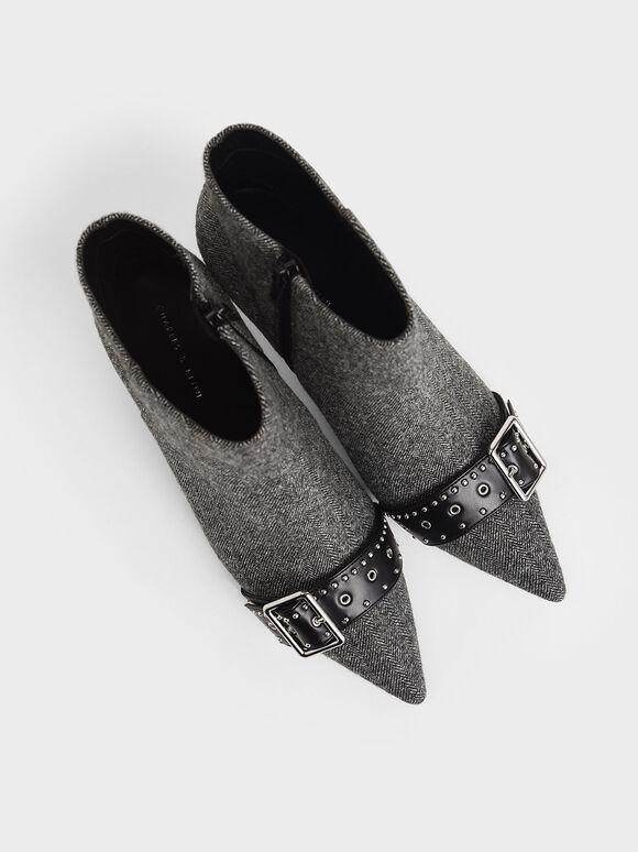 金屬扣環短靴, 深灰色, hi-res