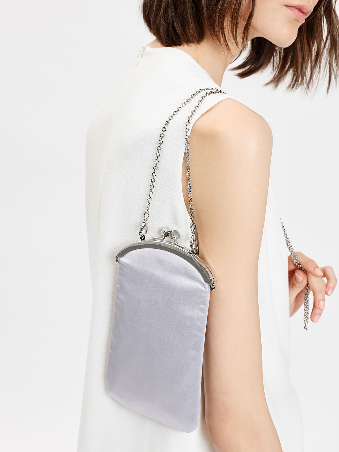 Satin Push-lock Clutch, Grey, hi-res