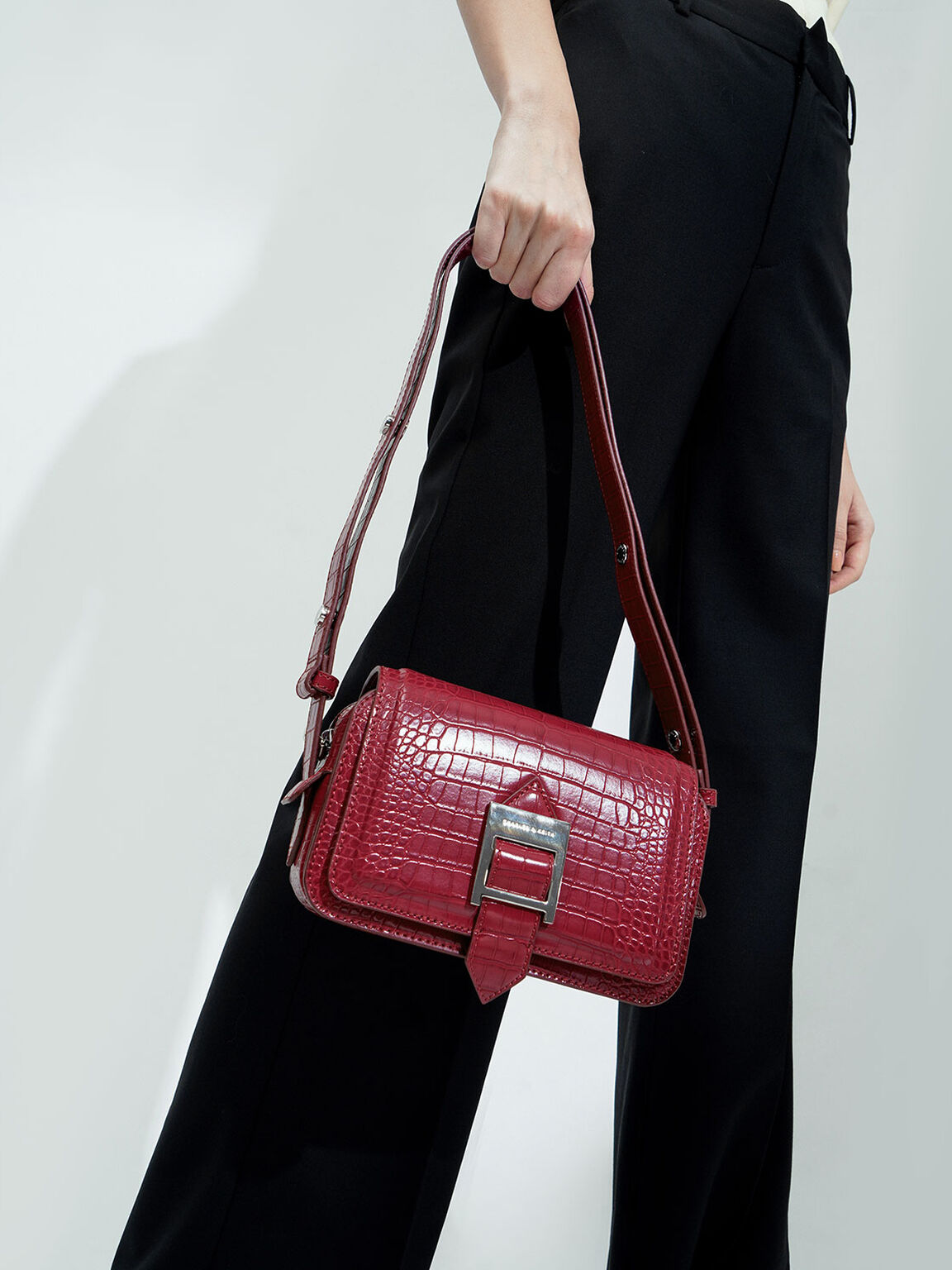 Buckle Strap Croc-Effect Shoulder Bag, Berry, hi-res