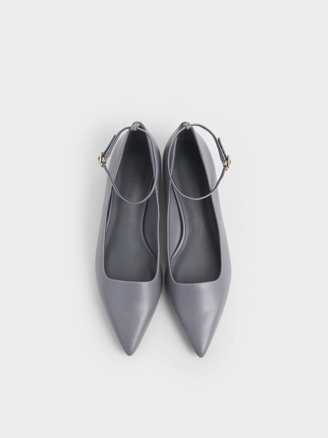 Ankle Strap Flats, Grey, hi-res