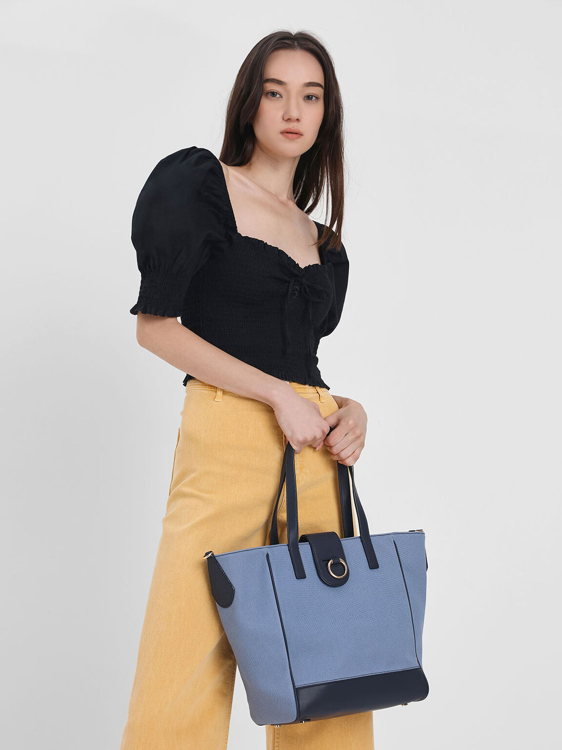 Canvas Trapeze Tote Bag, Dark Blue, hi-res