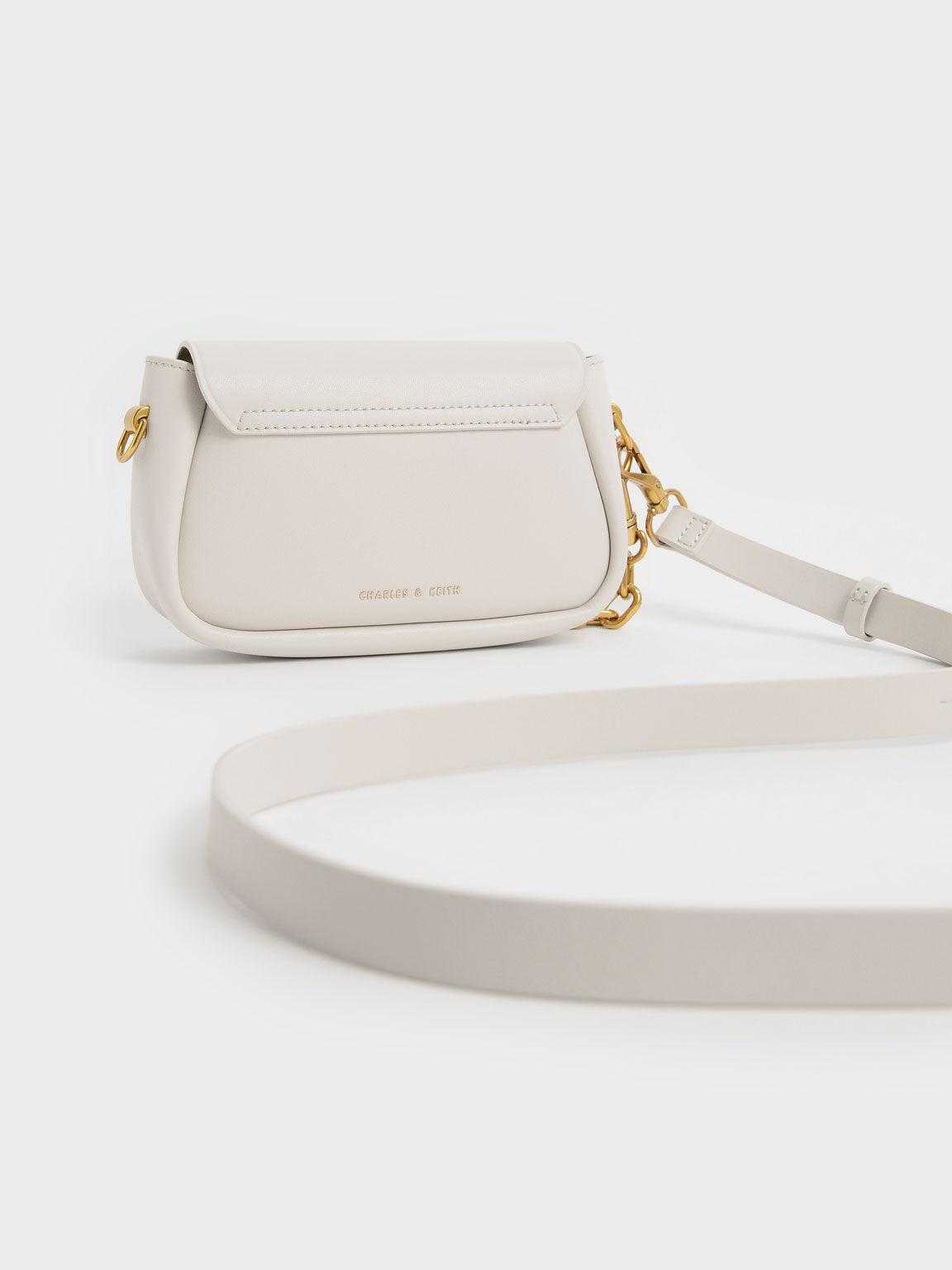Chunky Chain-Link Crossbody Bag, Ivory, hi-res