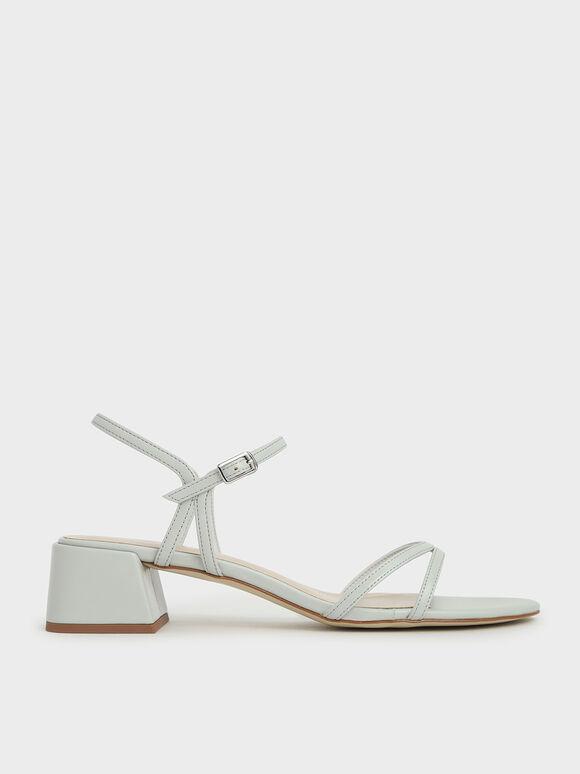 雙細帶粗跟涼鞋, 灰色, hi-res