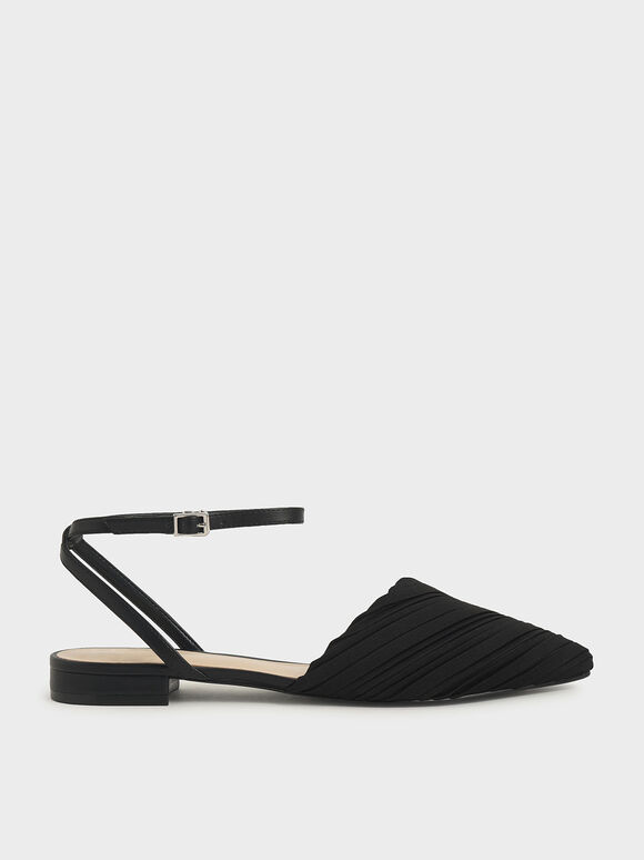Pleated Ankle Strap Flat Pumps, Black, hi-res