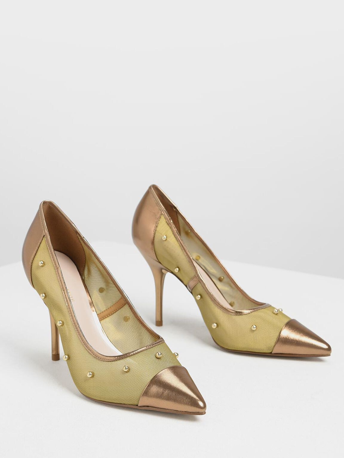 Embellished Mesh Pointed Pumps, Bronze, hi-res