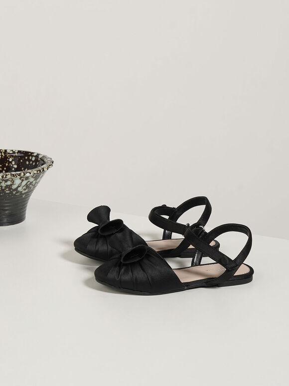 Girls' Satin Flats, Black, hi-res