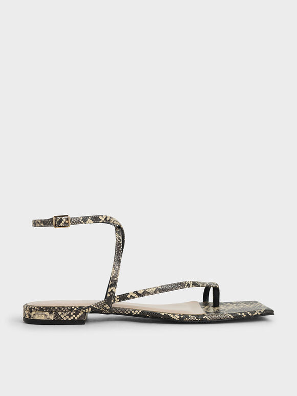 Snake Print Strappy Toe-Ring Sandals, Animal Print Natural, hi-res