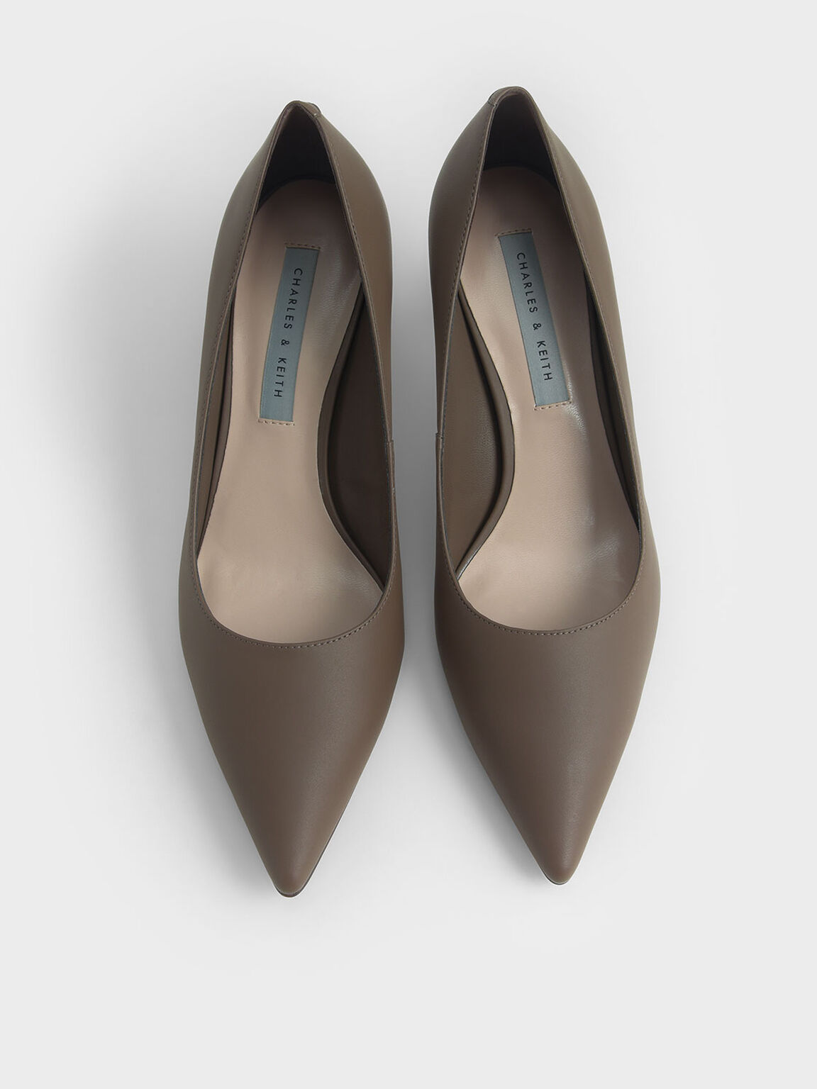 Cylindrical Heel Pointed Toe Pumps, Dark Brown, hi-res