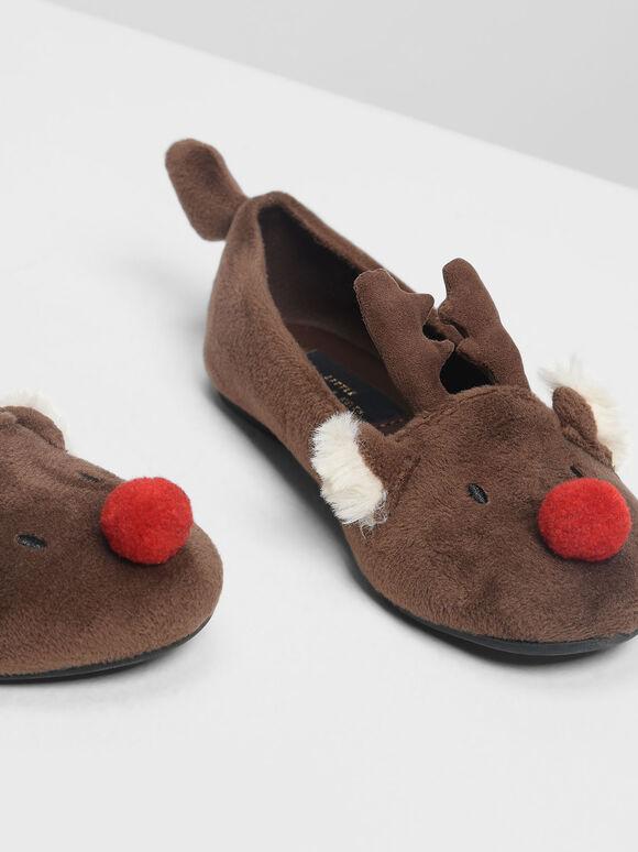 Kids Reindeer Ballerinas, Brown, hi-res