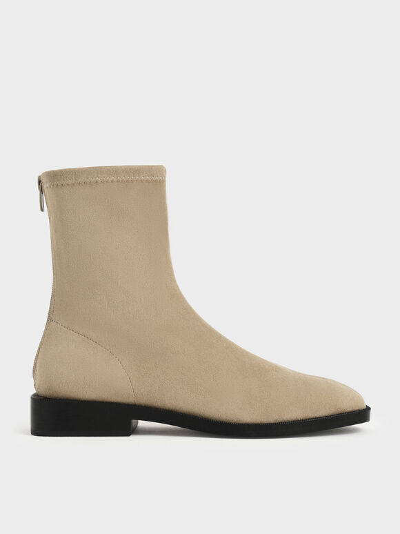 Textured Square Toe Zip-Up Ankle Boots, Taupe, hi-res