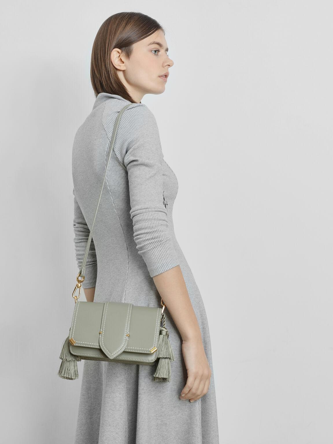 流蘇肩背包, 灰綠色, hi-res