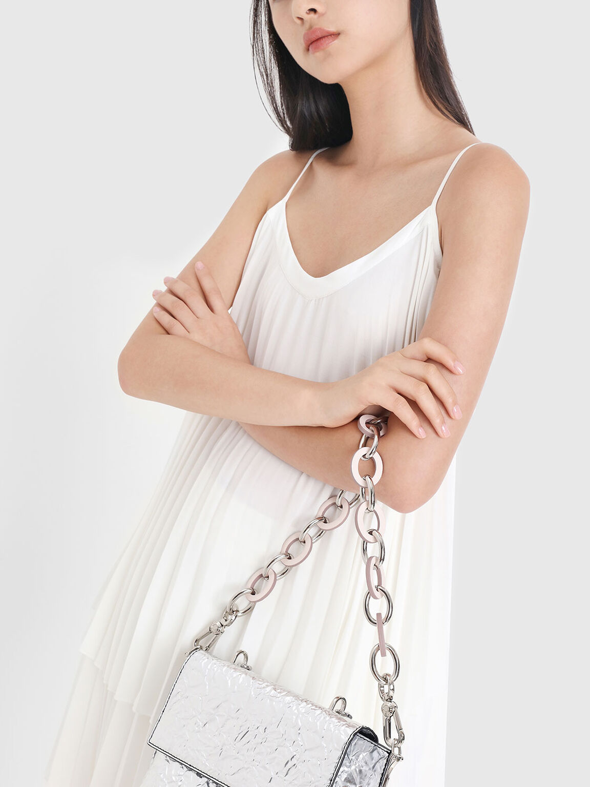 Two-Tone Chain Bag Strap, Pink, hi-res