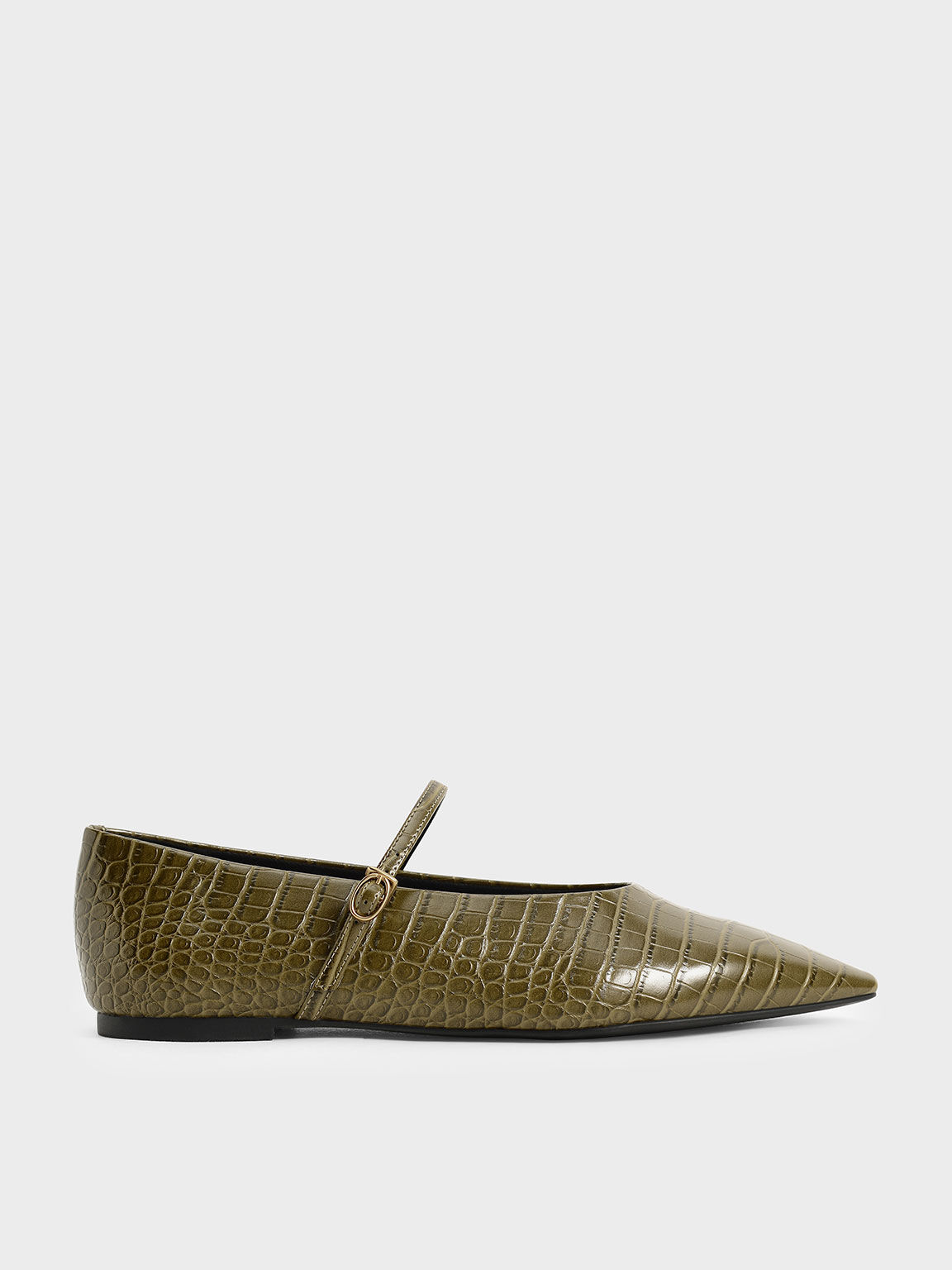 Croc-Effect Mary Jane Flats, Animal Print Green, hi-res