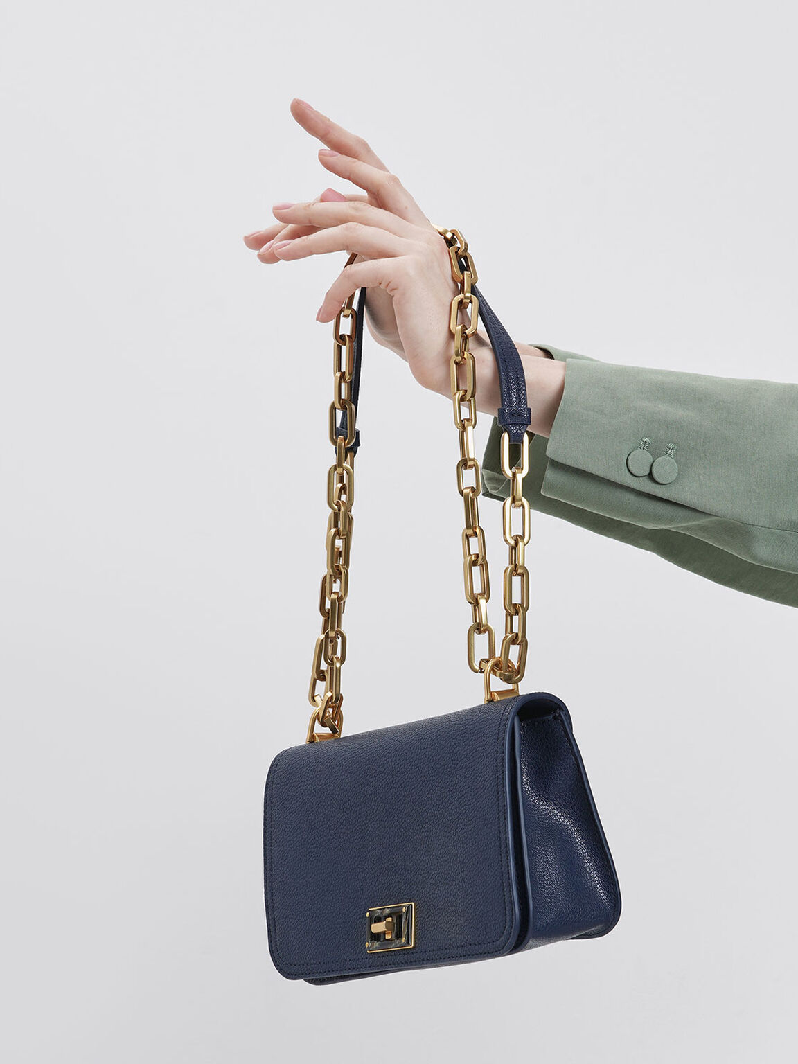 Chain Handle Crossbody Bag, Dark Blue, hi-res