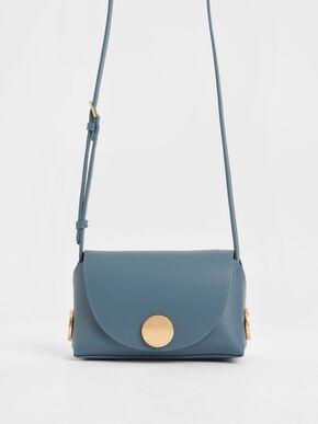 Metal Accent Mini Crossbody Bag, Blue