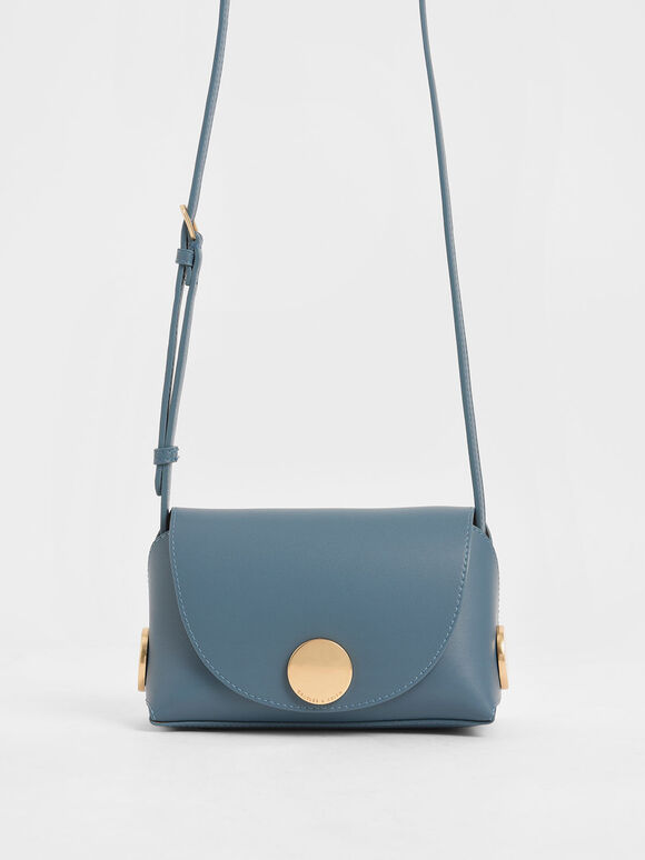 Metal Accent Mini Crossbody Bag, Blue, hi-res