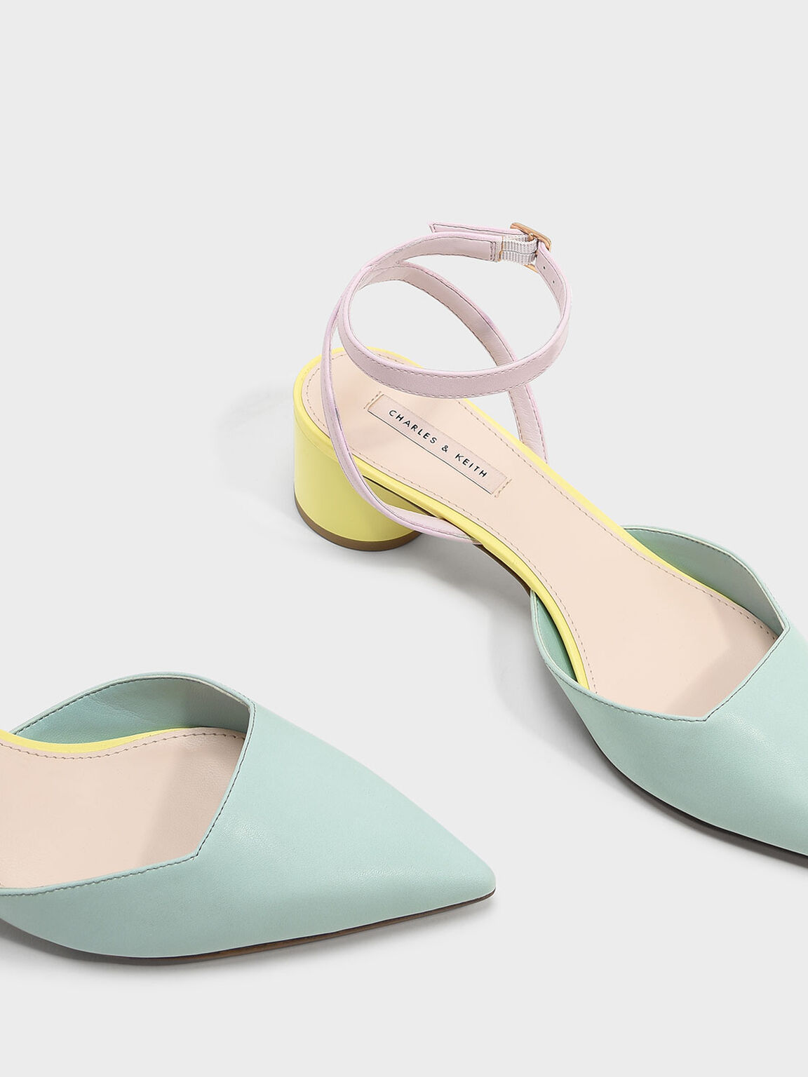 Cylindrical Heel Sandals, Green, hi-res