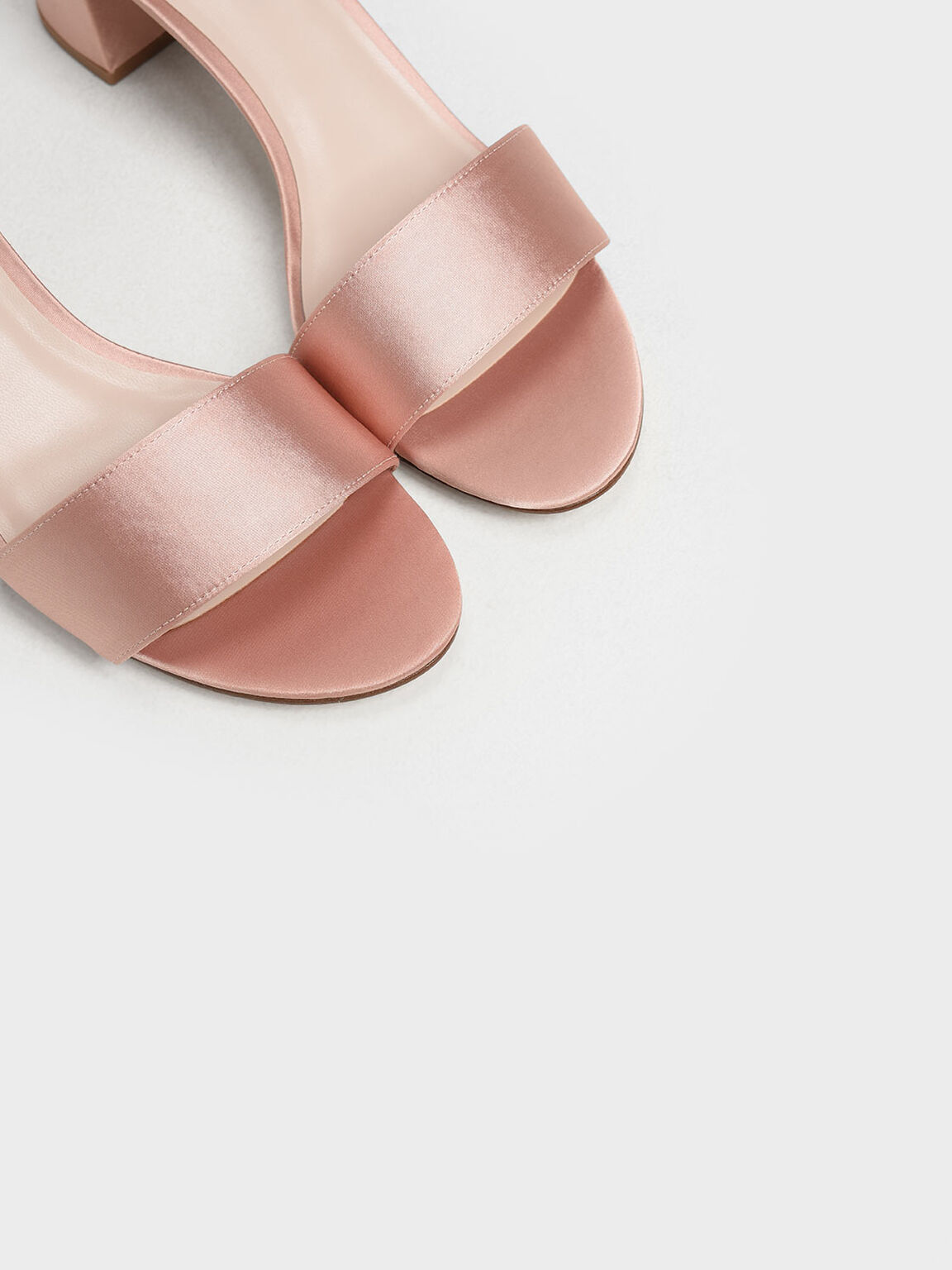 Satin Block Heel Sandals, Nude, hi-res