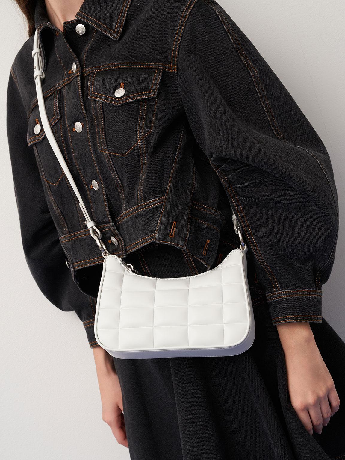 Quilted Chain Shoulder Bag, White, hi-res