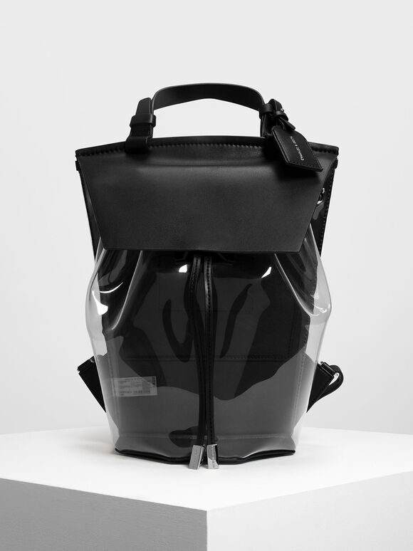 Vinyl Detail Backpack, Black, hi-res