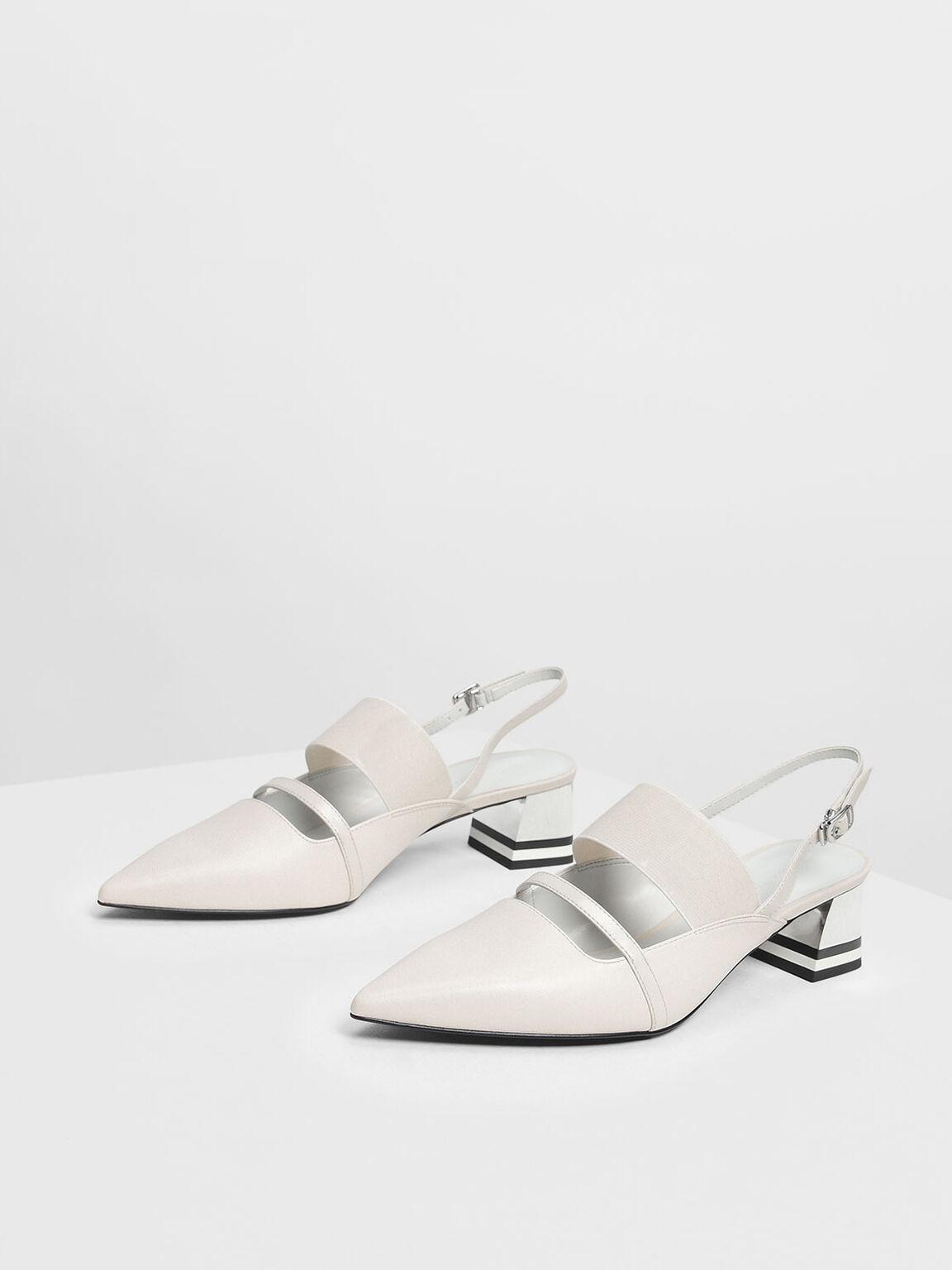 Pointed Toe Slingback Heels, Chalk, hi-res
