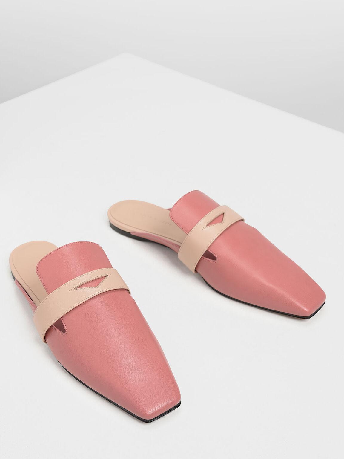Penny Loafer Mules, Pink, hi-res