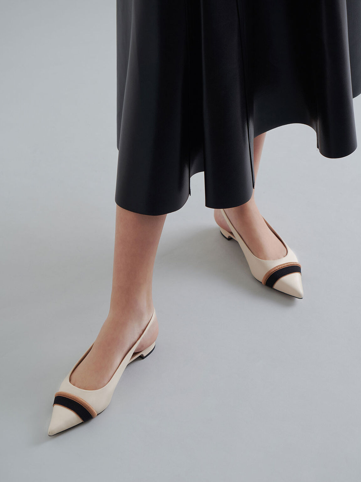 Two-Tone Leather Slingback Flats, Cream, hi-res