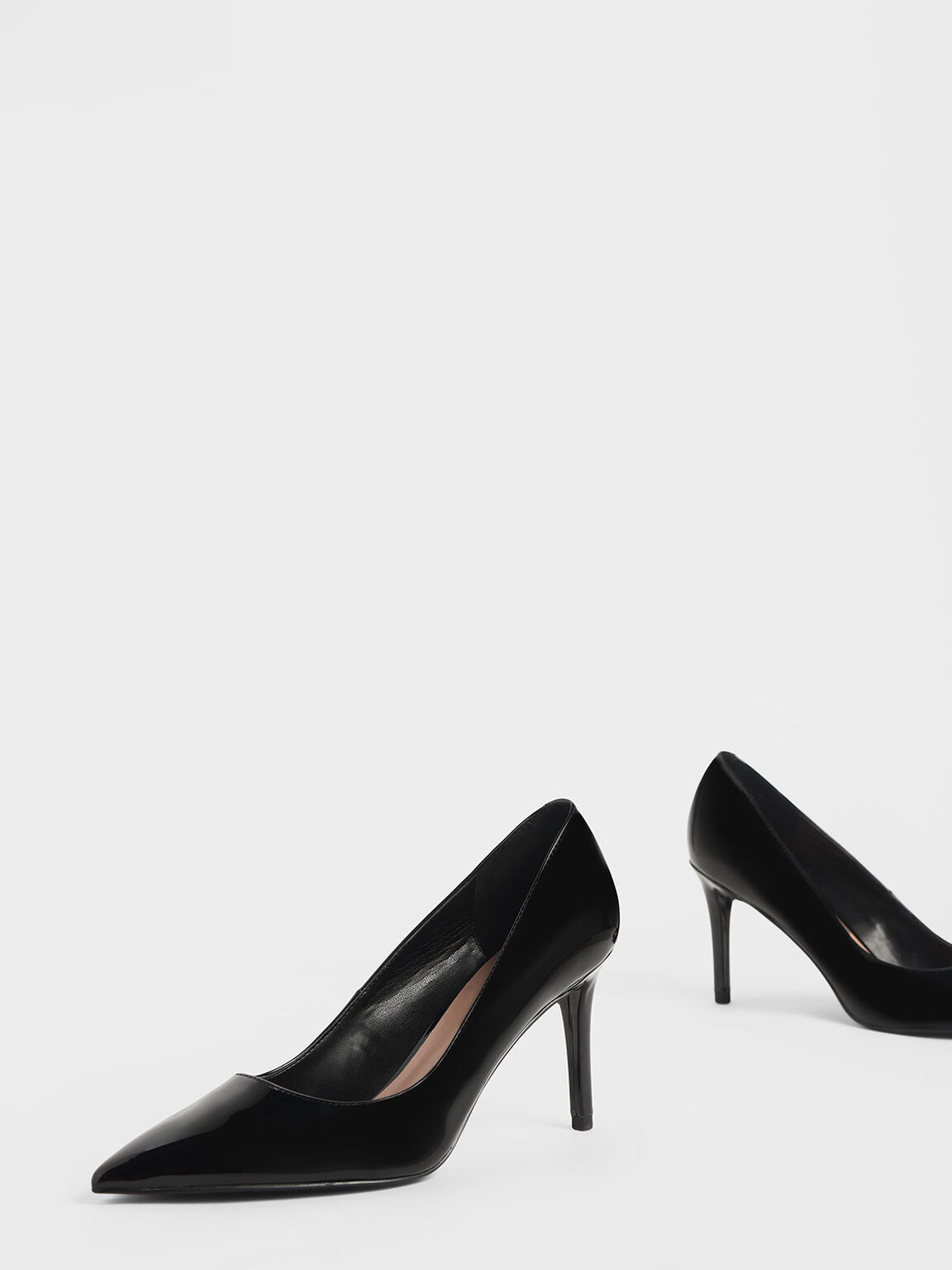 Classic Pointed Toe Patent Pumps, Black, hi-res