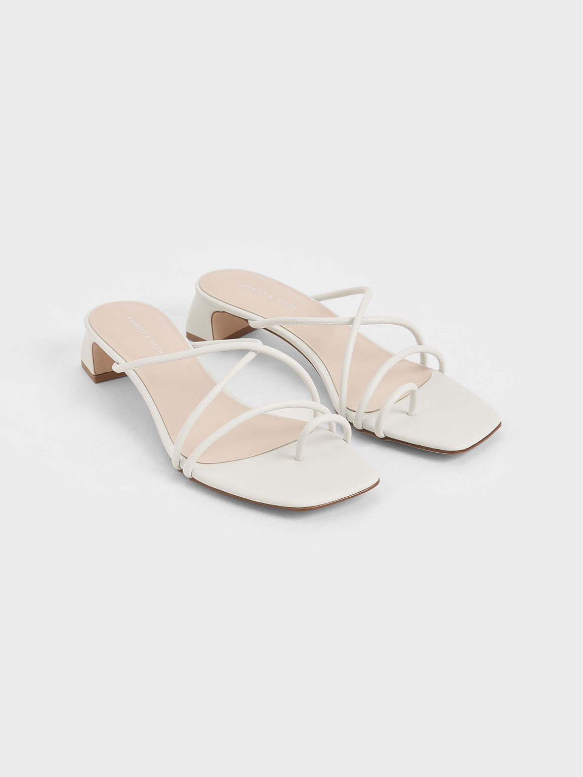 Strappy Toe Ring Sandals, White, hi-res