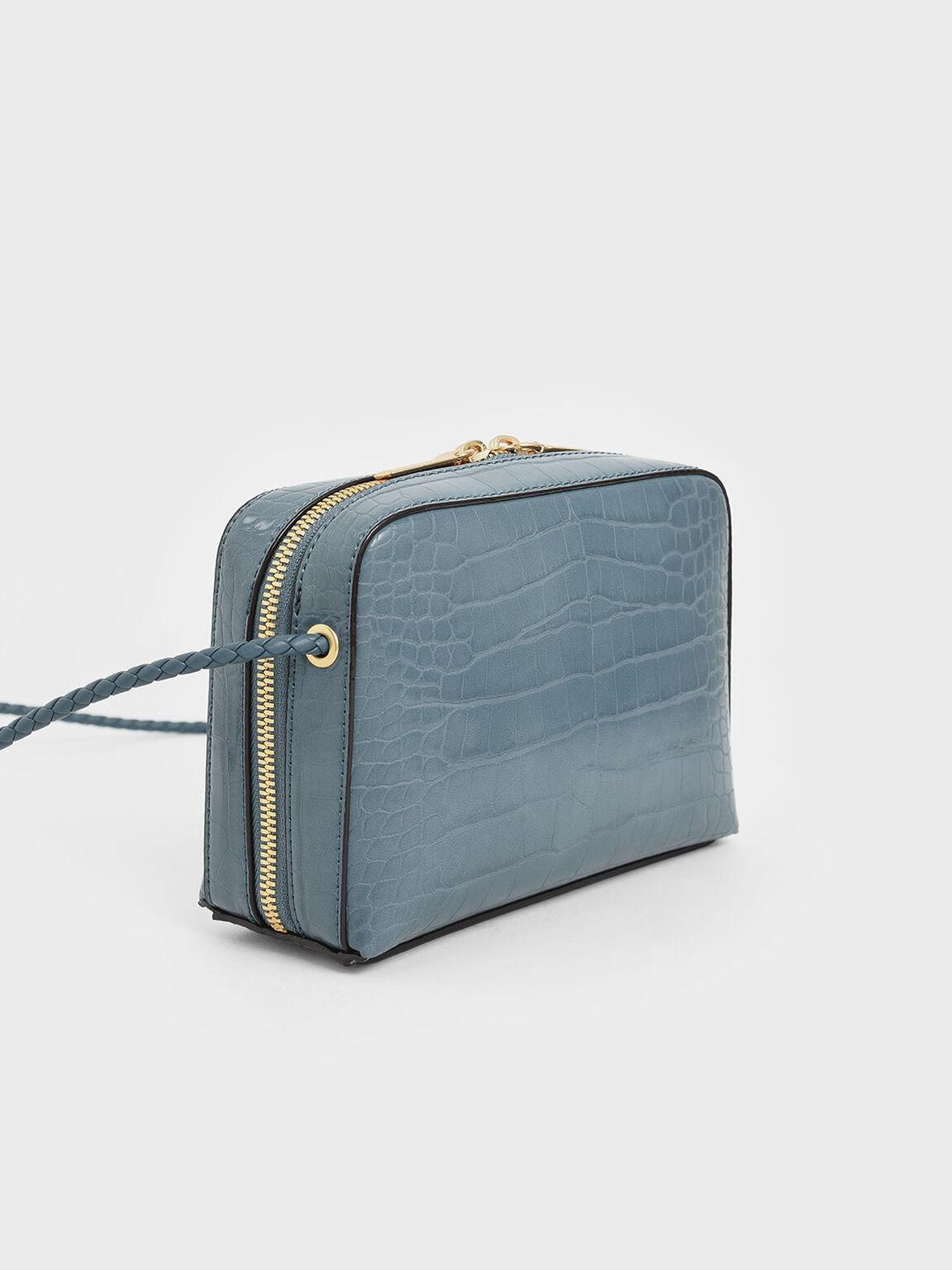 Croc-Effect Mini Rectangular Crossbody Bag, Blue, hi-res