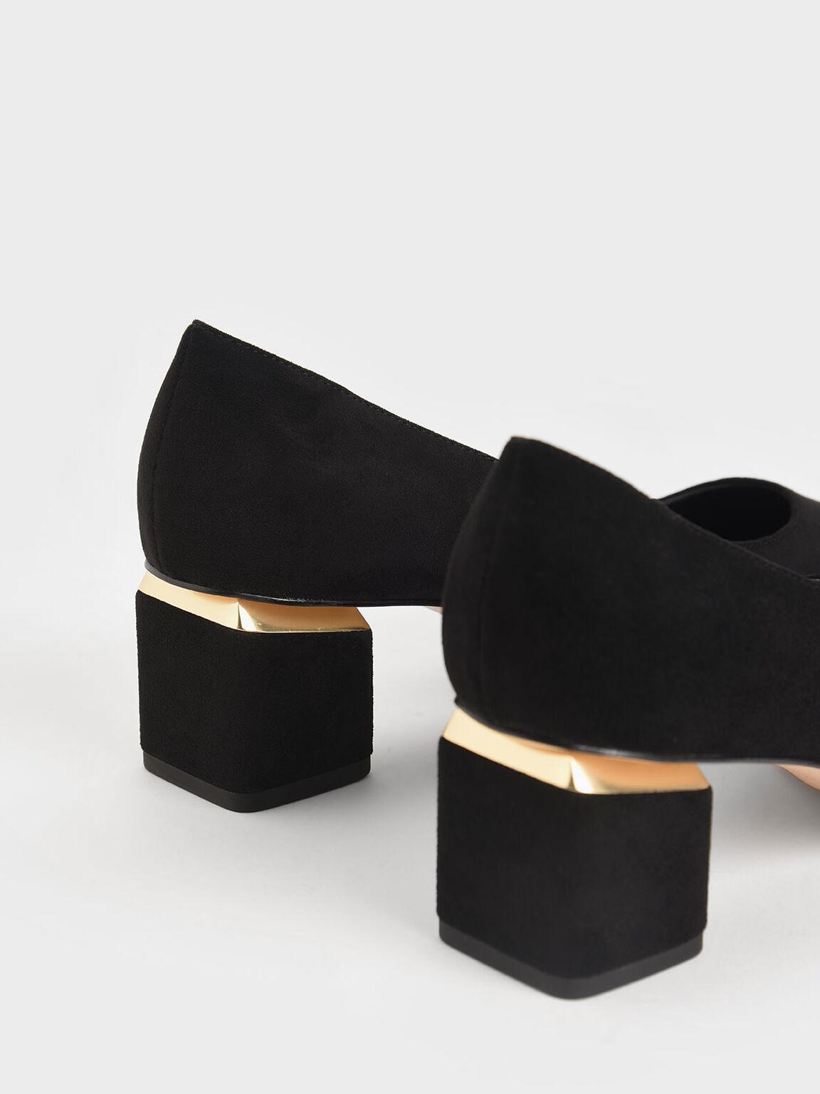 Textured Block Heel Pumps, Black Textured, hi-res