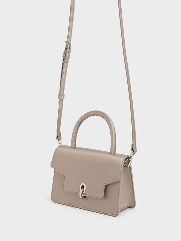 Leather Metallic Turn-Lock Bag, Beige, hi-res