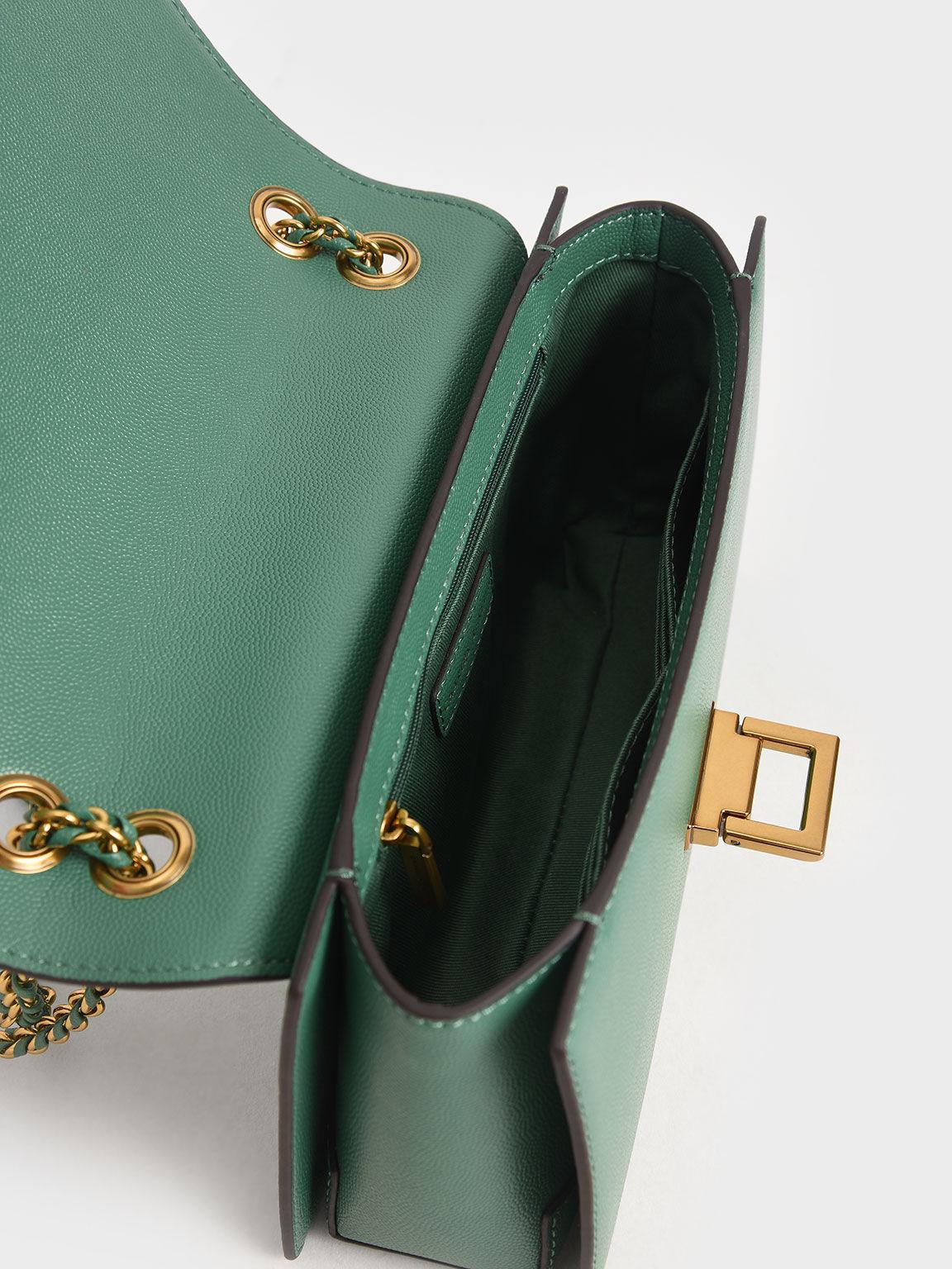 鍊條金釦肩背包, 綠色, hi-res