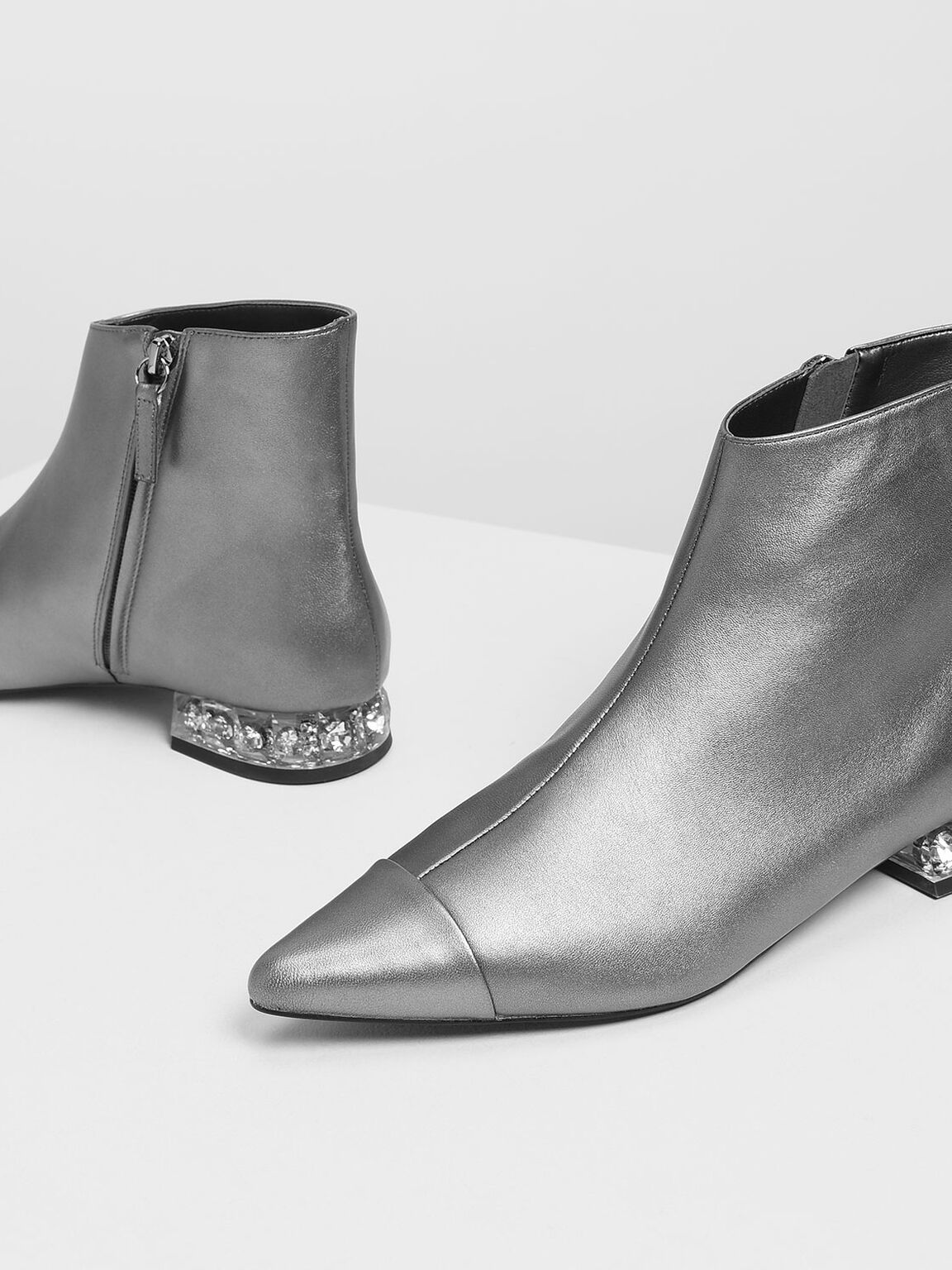 Faceted Lucite Heel Leather Boots, Pewter, hi-res