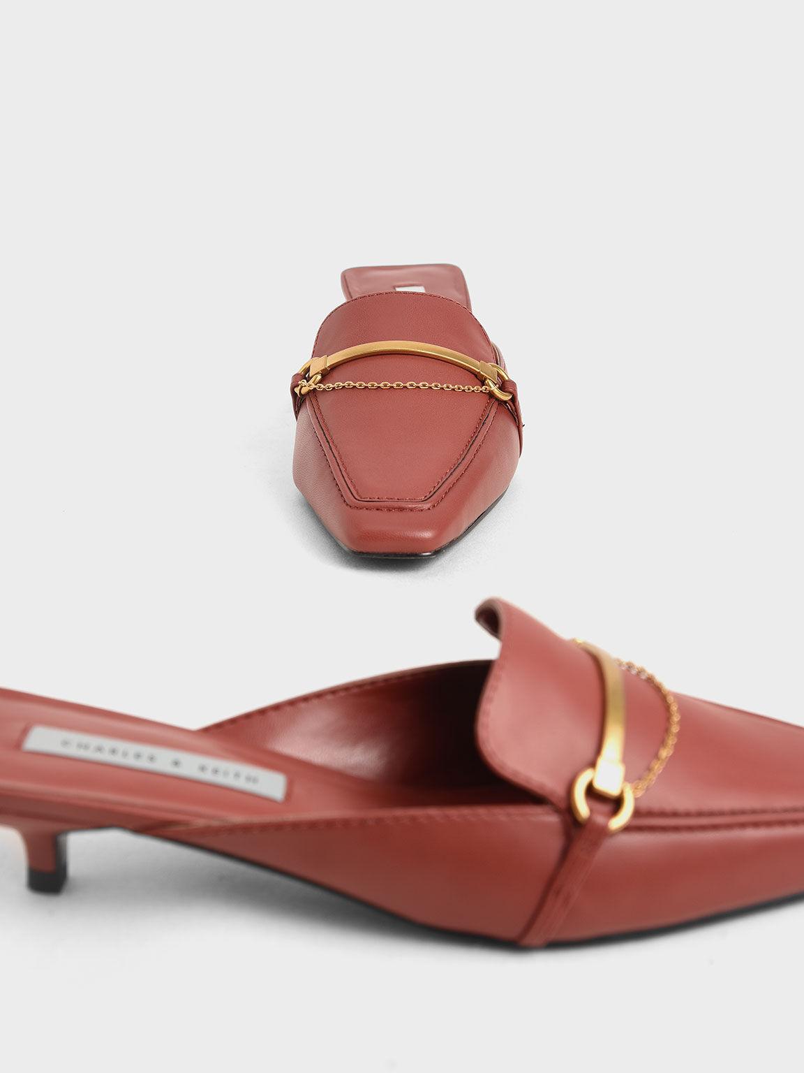 金屬綴飾穆勒鞋, 紅色, hi-res